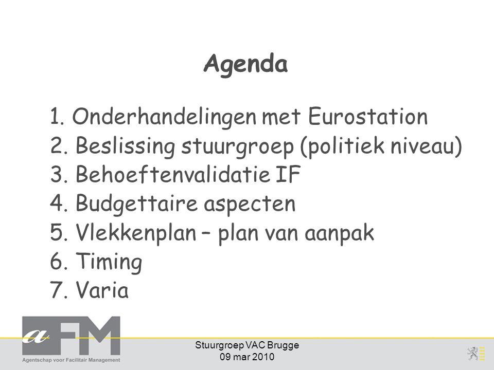 Stuurgroep VAC Brugge 09 mar 2010 Agenda 1. Onderhandelingen met Eurostation 2. Beslissing stuurgroep (politiek niveau) 3. Behoeftenvalidatie IF 4. Bu