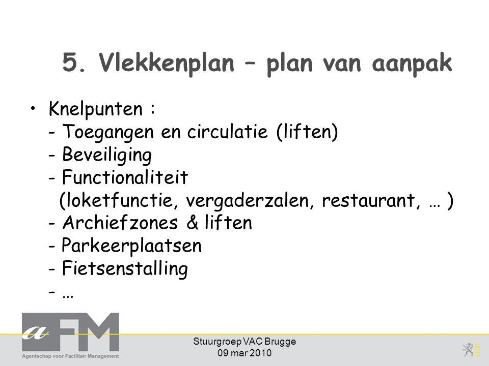 Stuurgroep VAC Brugge 09 mar 2010 5. Vlekkenplan – plan van aanpak Knelpunten : - Toegangen en circulatie (liften) - Beveiliging - Functionaliteit (lo