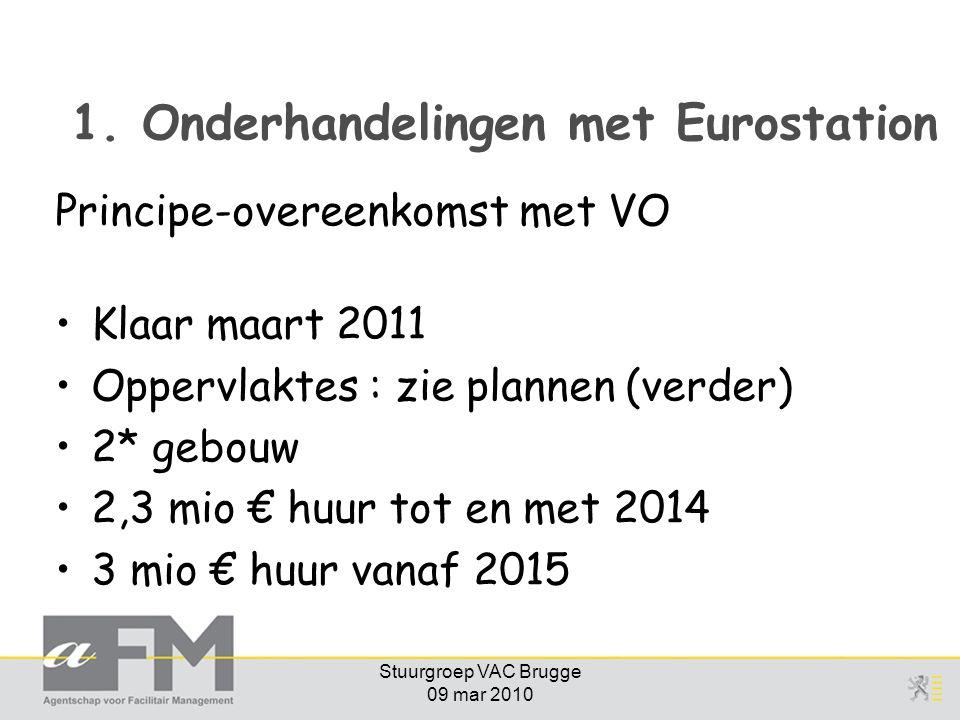 Stuurgroep VAC Brugge 09 mar 2010 1. Onderhandelingen met Eurostation Principe-overeenkomst met VO Klaar maart 2011 Oppervlaktes : zie plannen (verder