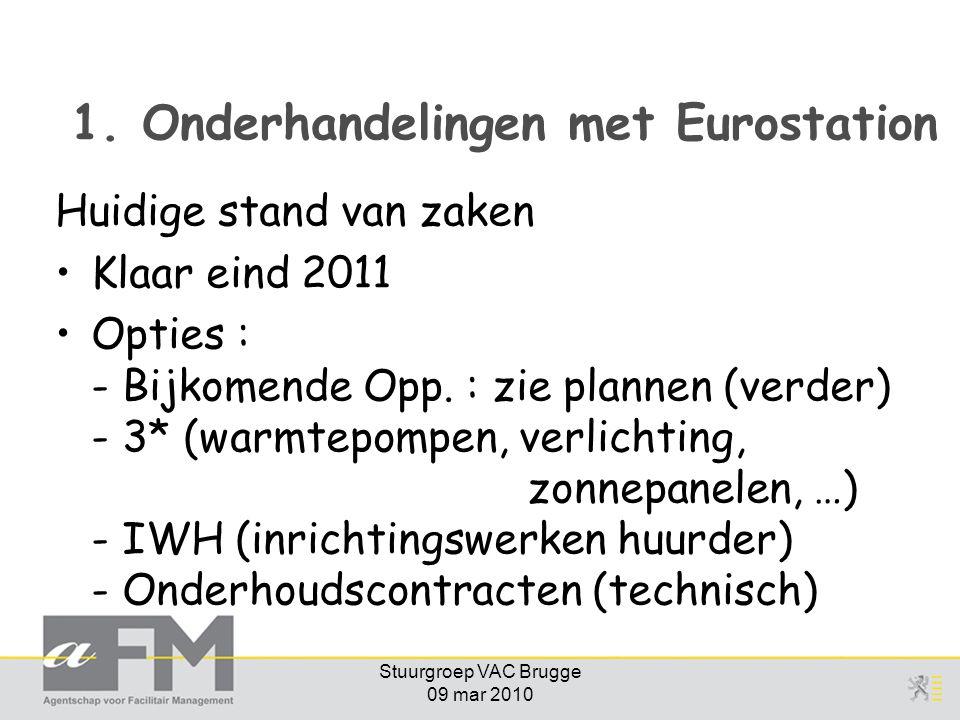 Stuurgroep VAC Brugge 09 mar 2010 1. Onderhandelingen met Eurostation Huidige stand van zaken Klaar eind 2011 Opties : - Bijkomende Opp. : zie plannen