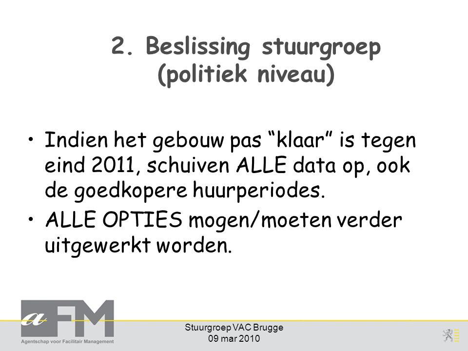 """Stuurgroep VAC Brugge 09 mar 2010 2. Beslissing stuurgroep (politiek niveau) Indien het gebouw pas """"klaar"""" is tegen eind 2011, schuiven ALLE data op,"""