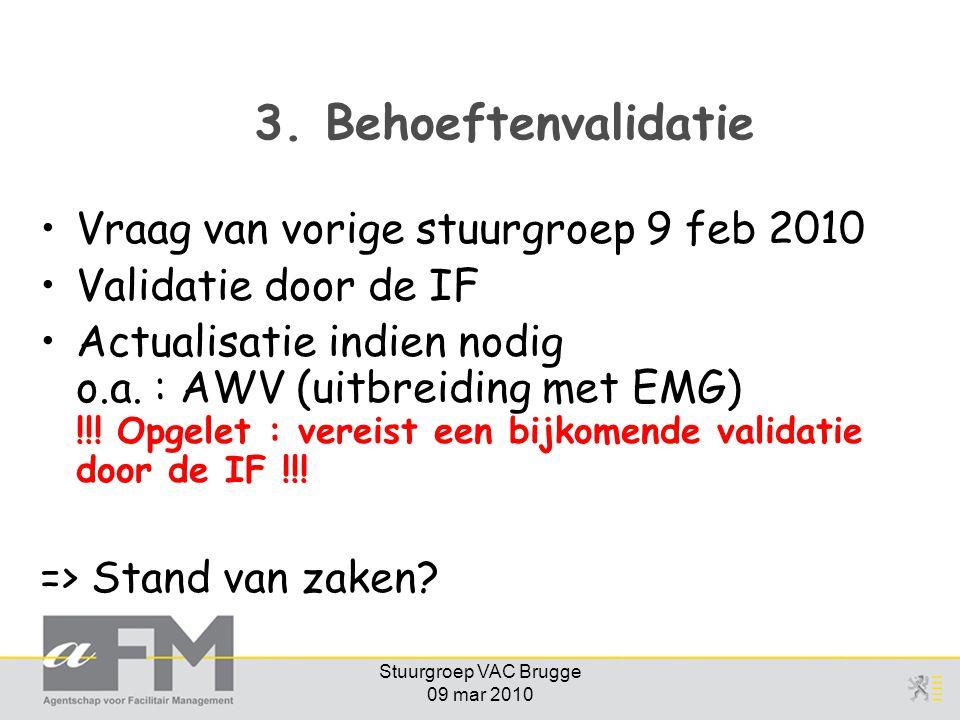 Stuurgroep VAC Brugge 09 mar 2010 3. Behoeftenvalidatie Vraag van vorige stuurgroep 9 feb 2010 Validatie door de IF Actualisatie indien nodig o.a. : A