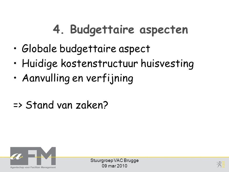 Stuurgroep VAC Brugge 09 mar 2010 4. Budgettaire aspecten Globale budgettaire aspect Huidige kostenstructuur huisvesting Aanvulling en verfijning => S