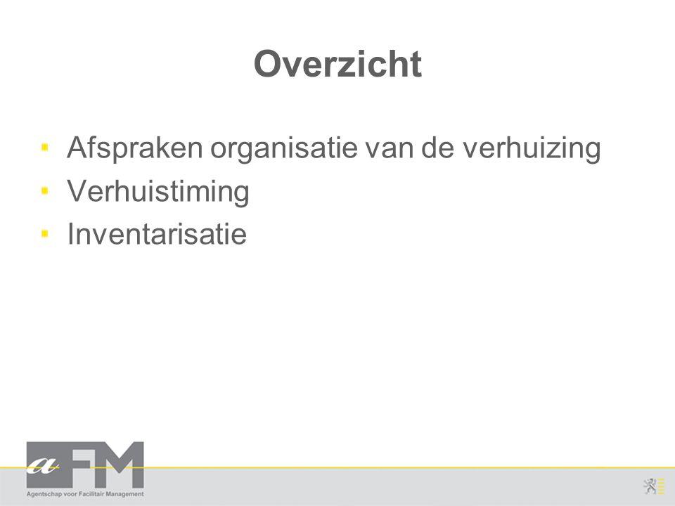 Overzicht Afspraken organisatie van de verhuizing Verhuistiming Inventarisatie