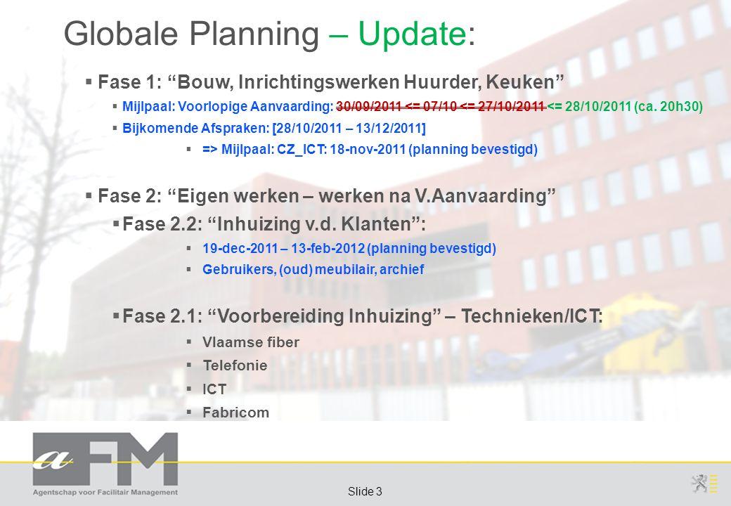 """Page 3 Slide 3 Globale Planning – Update:  Fase 1: """"Bouw, Inrichtingswerken Huurder, Keuken""""  Mijlpaal: Voorlopige Aanvaarding: 30/09/2011 <= 07/10"""