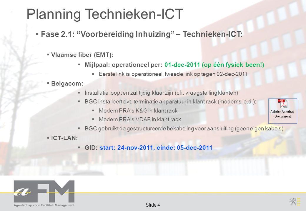 """Page 4 Slide 4 Planning Technieken-ICT  Fase 2.1: """"Voorbereiding Inhuizing"""" – Technieken-ICT:  Vlaamse fiber (EMT):  Mijlpaal: operationeel per: 01"""