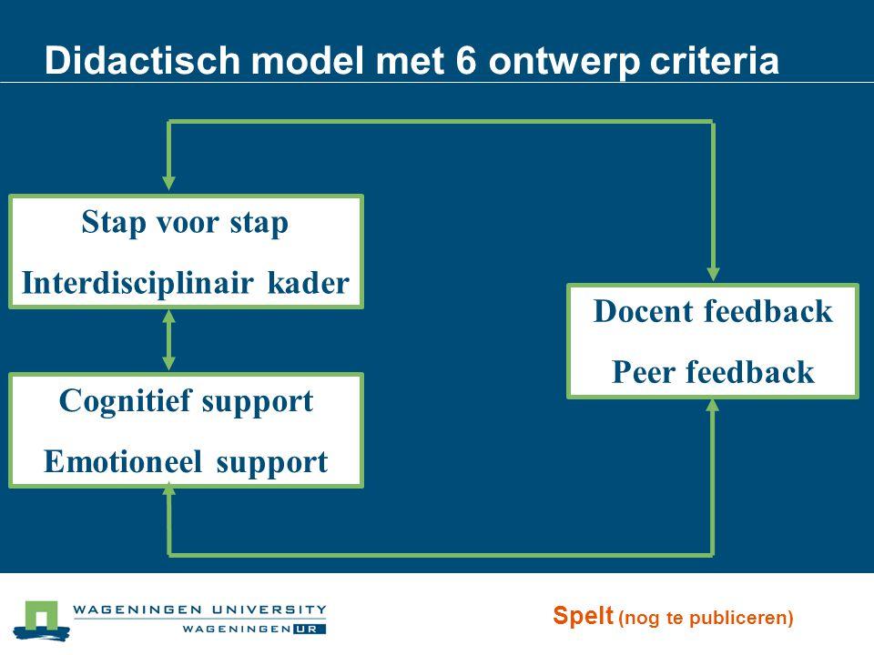 Didactisch model met 6 ontwerp criteria Stap voor stap Interdisciplinair kader Cognitief support Emotioneel support Docent feedback Peer feedback Spel
