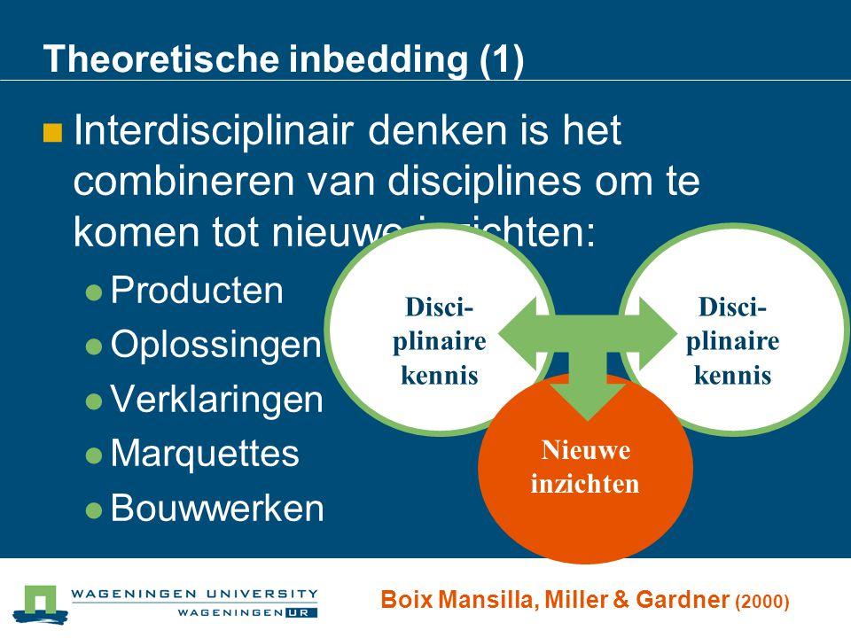 Theoretische inbedding (1) Interdisciplinair denken is het combineren van disciplines om te komen tot nieuwe inzichten: Producten Oplossingen Verklari