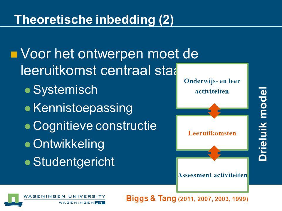 Theoretische inbedding (2) Voor het ontwerpen moet de leeruitkomst centraal staan: Systemisch Kennistoepassing Cognitieve constructie Ontwikkeling Stu