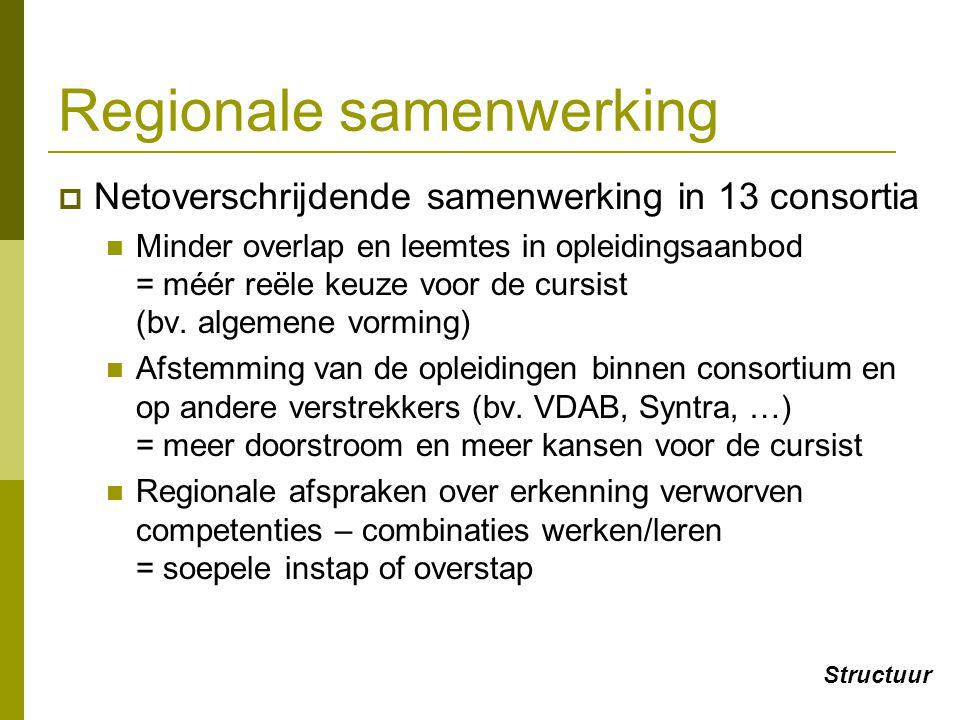 Regionale samenwerking  Netoverschrijdende samenwerking in 13 consortia Minder overlap en leemtes in opleidingsaanbod = méér reële keuze voor de curs