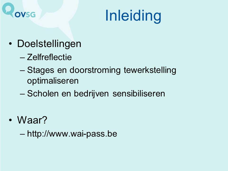 Doelstellingen –Zelfreflectie –Stages en doorstroming tewerkstelling optimaliseren –Scholen en bedrijven sensibiliseren Waar? –http://www.wai-pass.be