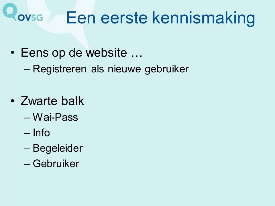 Een eerste kennismaking Eens op de website … –Registreren als nieuwe gebruiker Zwarte balk –Wai-Pass –Info –Begeleider –Gebruiker
