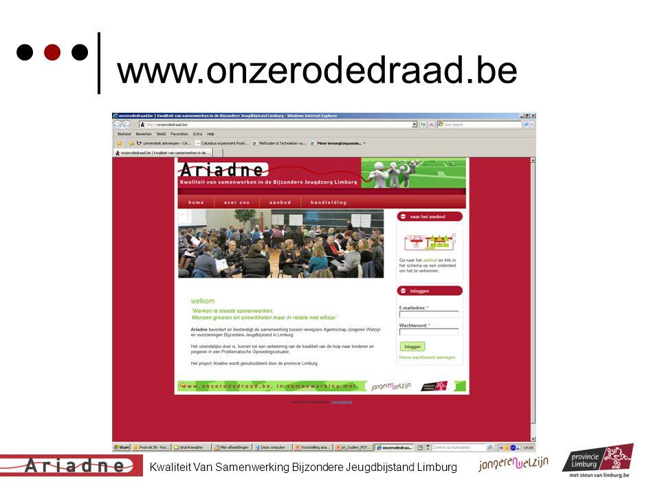 Kwaliteit Van Samenwerking Bijzondere Jeugdbijstand Limburg www.onzerodedraad.be