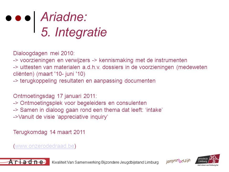 Kwaliteit Van Samenwerking Bijzondere Jeugdbijstand Limburg Ariadne: 5. Integratie Dialoogdagen mei 2010: -> voorzieningen en verwijzers -> kennismaki