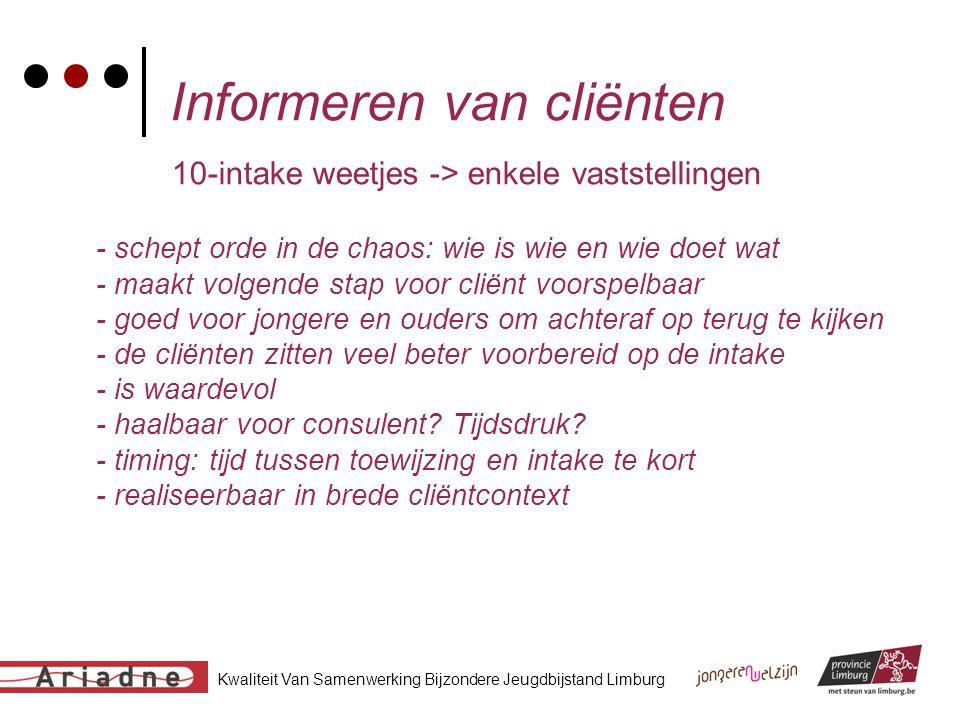 Kwaliteit Van Samenwerking Bijzondere Jeugdbijstand Limburg Informeren van cliënten 10-intake weetjes -> enkele vaststellingen - schept orde in de cha