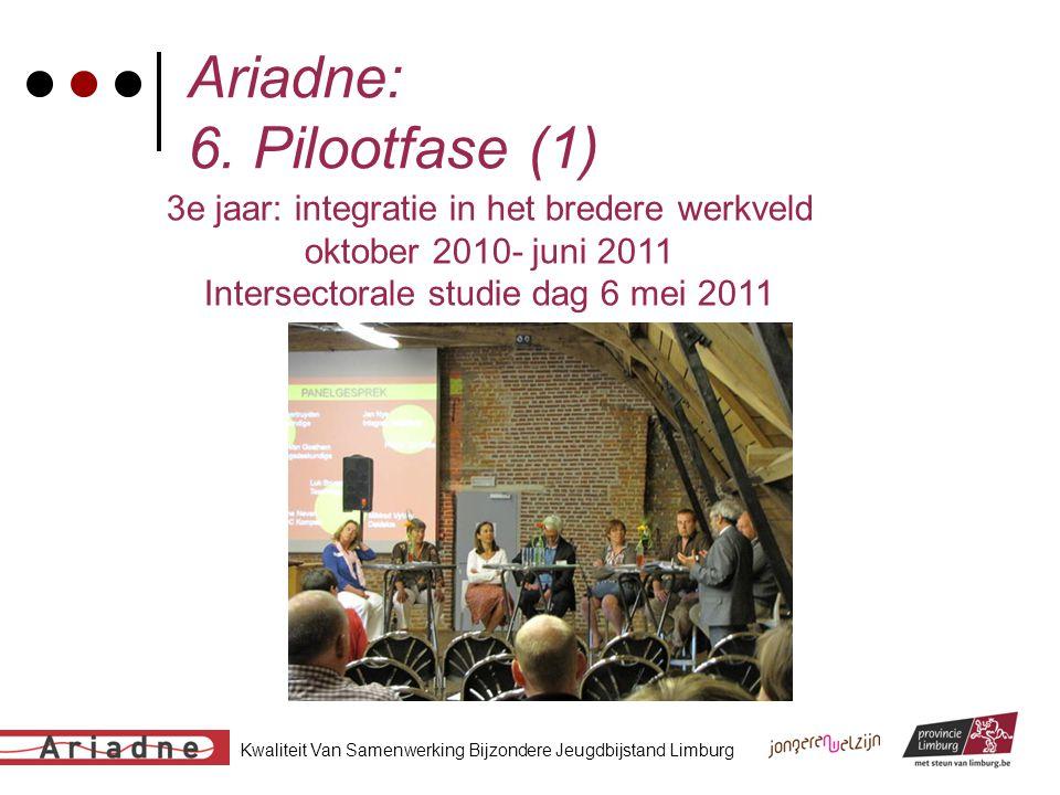 Kwaliteit Van Samenwerking Bijzondere Jeugdbijstand Limburg Ariadne: 6. Pilootfase (1) 3e jaar: integratie in het bredere werkveld oktober 2010- juni