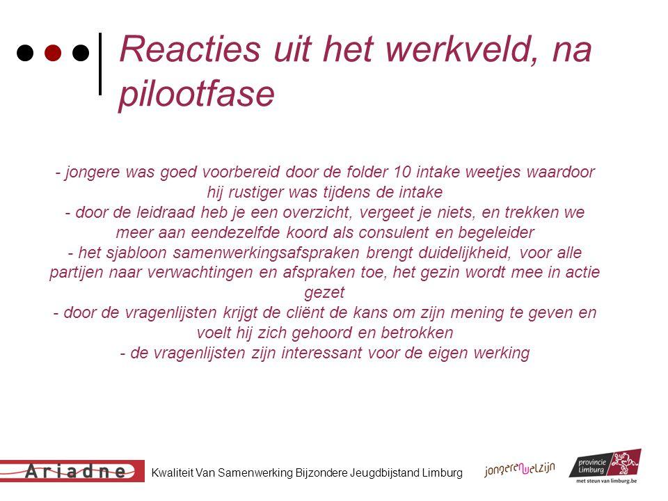 Kwaliteit Van Samenwerking Bijzondere Jeugdbijstand Limburg Reacties uit het werkveld, na pilootfase - jongere was goed voorbereid door de folder 10 i