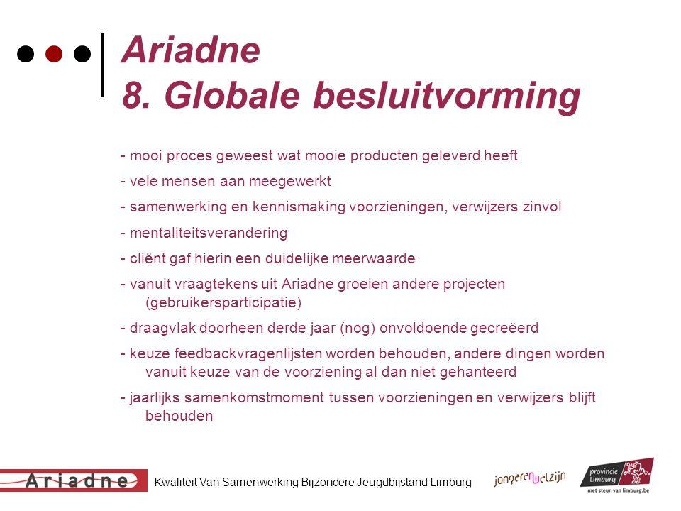 Kwaliteit Van Samenwerking Bijzondere Jeugdbijstand Limburg Ariadne 8. Globale besluitvorming - mooi proces geweest wat mooie producten geleverd heeft