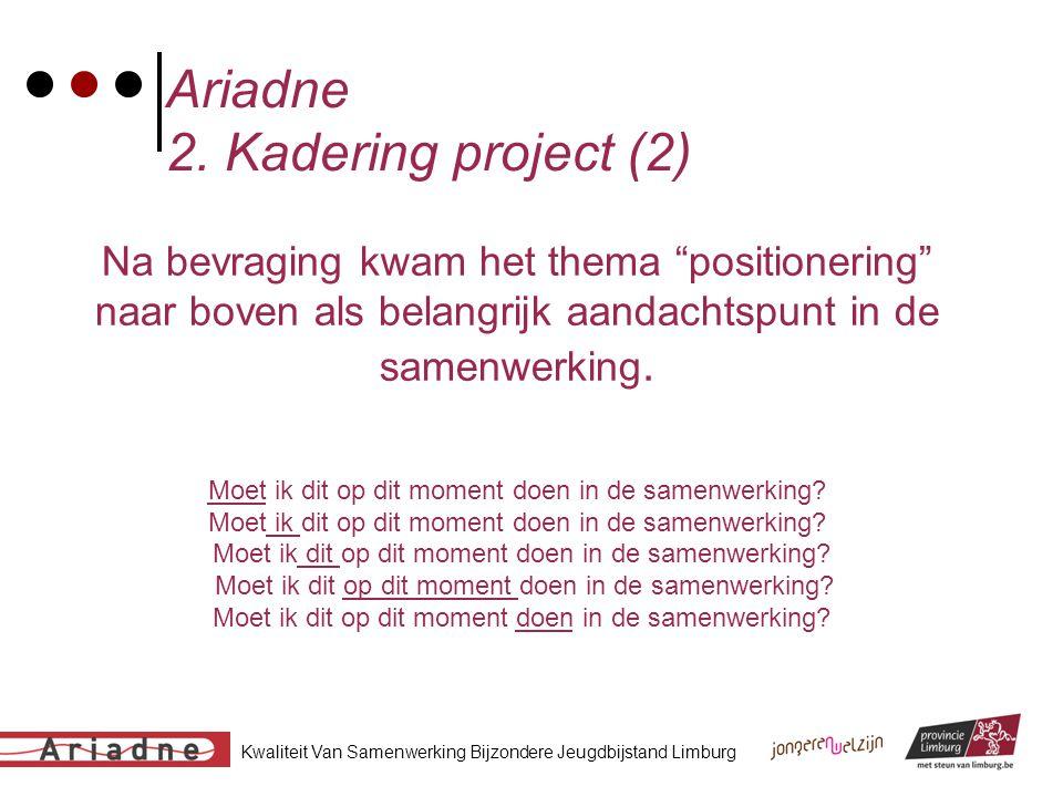 """Kwaliteit Van Samenwerking Bijzondere Jeugdbijstand Limburg Ariadne 2. Kadering project (2) Na bevraging kwam het thema """"positionering"""" naar boven als"""