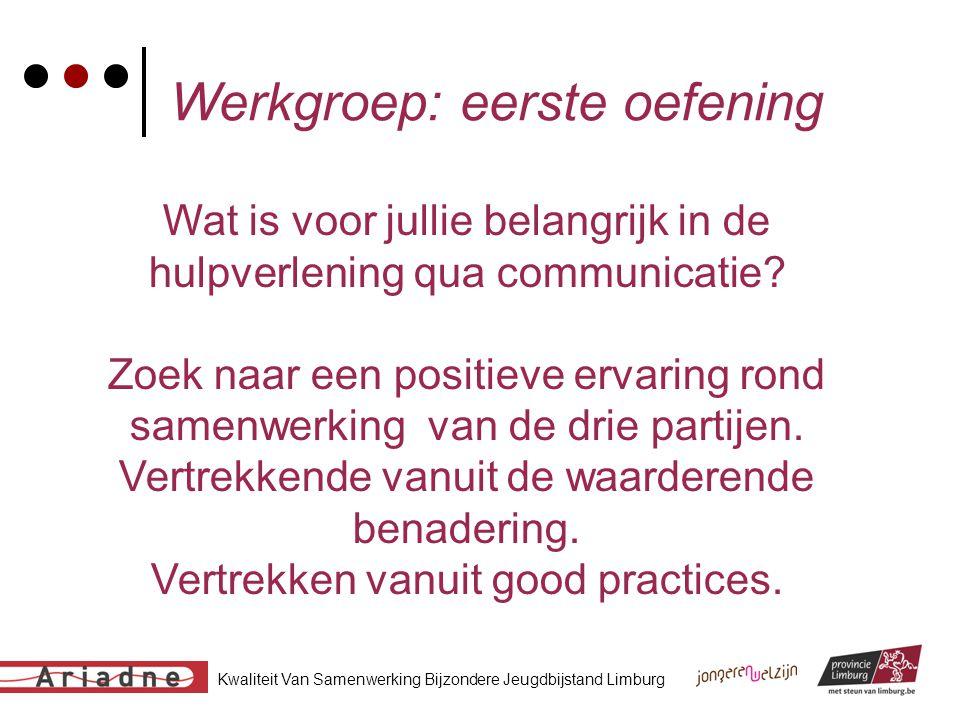 Kwaliteit Van Samenwerking Bijzondere Jeugdbijstand Limburg Werkgroep: eerste oefening Wat is voor jullie belangrijk in de hulpverlening qua communica