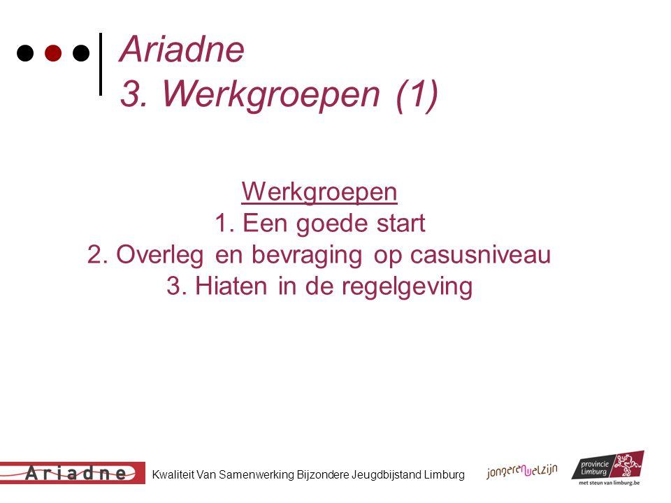 Kwaliteit Van Samenwerking Bijzondere Jeugdbijstand Limburg Ariadne 3. Werkgroepen (1) Werkgroepen 1. Een goede start 2. Overleg en bevraging op casus