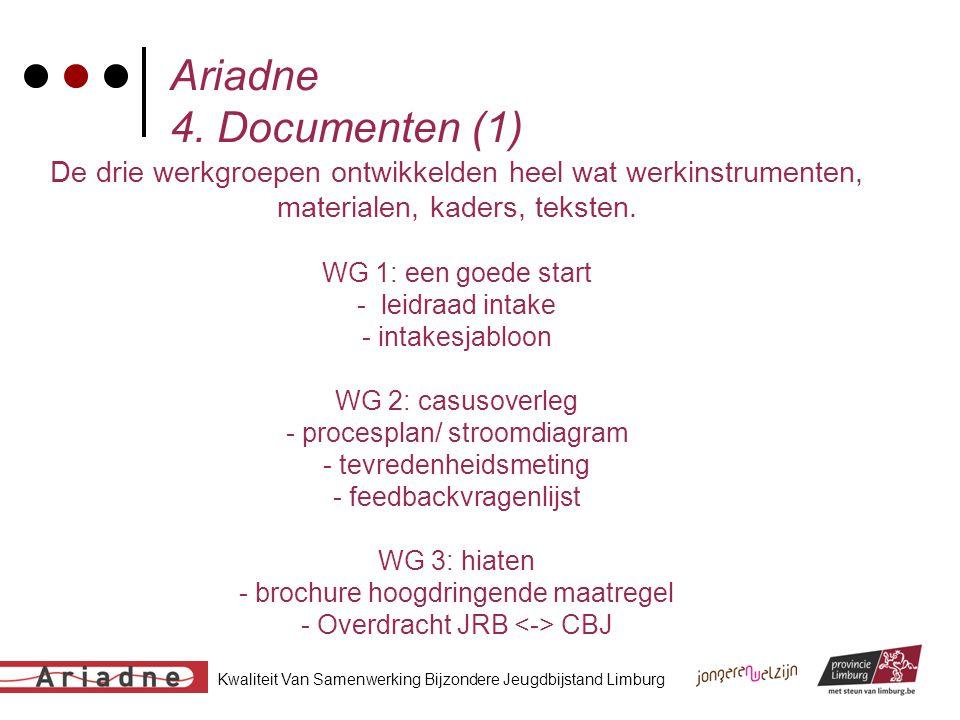 Kwaliteit Van Samenwerking Bijzondere Jeugdbijstand Limburg Ariadne 4. Documenten (1) De drie werkgroepen ontwikkelden heel wat werkinstrumenten, mate