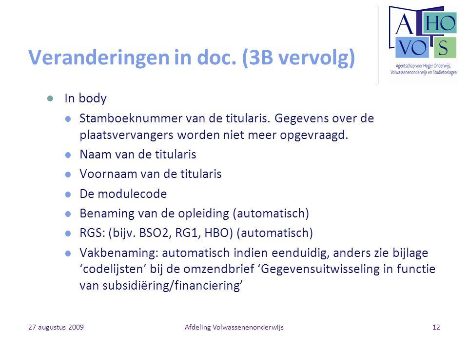 27 augustus 2009Afdeling Volwassenenonderwijs12 Veranderingen in doc. (3B vervolg) In body Stamboeknummer van de titularis. Gegevens over de plaatsver