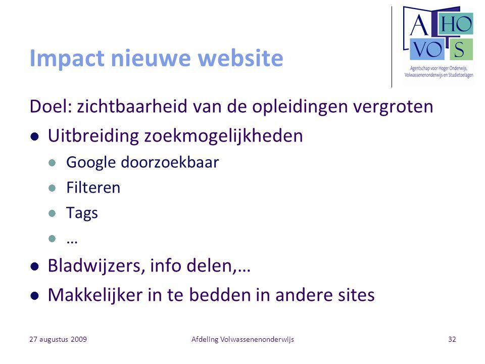 27 augustus 2009Afdeling Volwassenenonderwijs32 Impact nieuwe website Doel: zichtbaarheid van de opleidingen vergroten Uitbreiding zoekmogelijkheden G