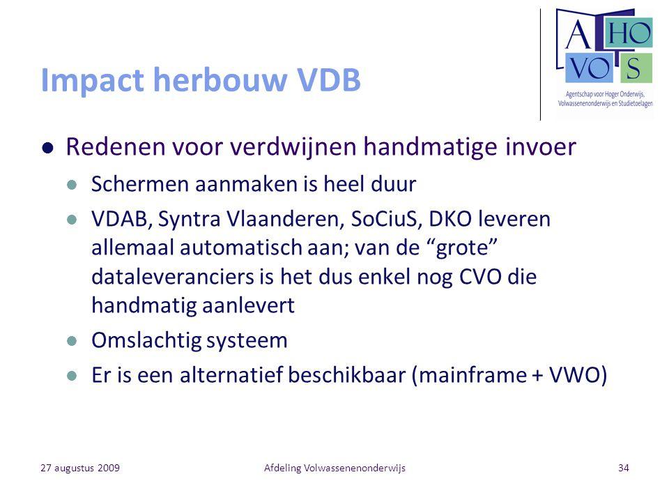 27 augustus 2009Afdeling Volwassenenonderwijs34 Impact herbouw VDB Redenen voor verdwijnen handmatige invoer Schermen aanmaken is heel duur VDAB, Synt