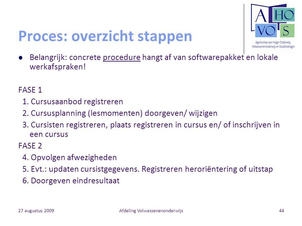 27 augustus 2009Afdeling Volwassenenonderwijs44 Proces: overzicht stappen Belangrijk: concrete procedure hangt af van softwarepakket en lokale werkafs
