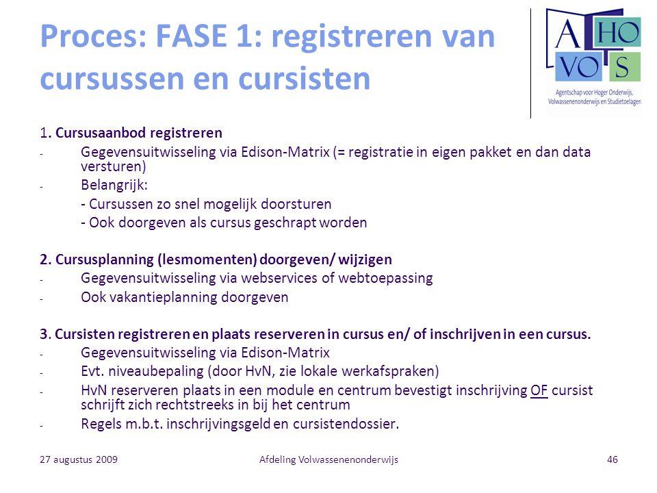 27 augustus 2009Afdeling Volwassenenonderwijs46 Proces: FASE 1: registreren van cursussen en cursisten 1. Cursusaanbod registreren - Gegevensuitwissel