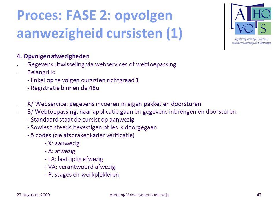27 augustus 2009Afdeling Volwassenenonderwijs47 Proces: FASE 2: opvolgen aanwezigheid cursisten (1) 4. Opvolgen afwezigheden - Gegevensuitwisseling vi