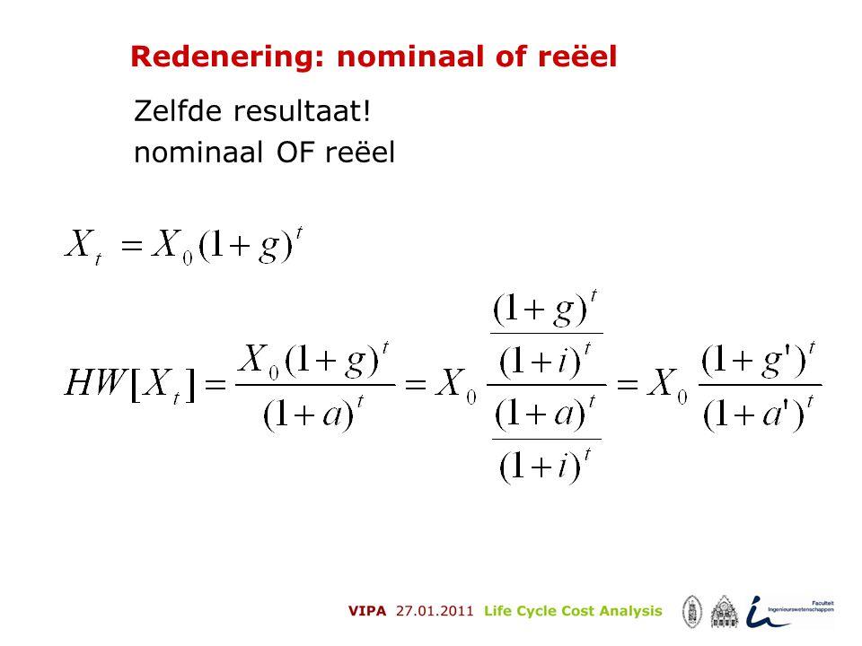 Redenering: nominaal of reëel Zelfde resultaat! nominaal OF reëel