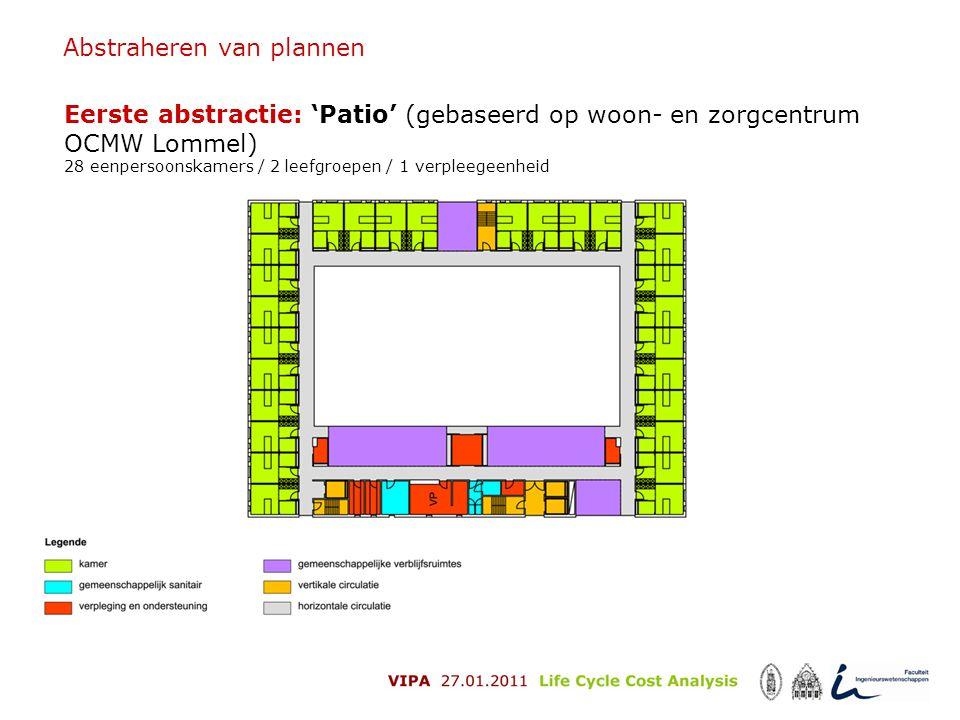 Abstraheren van plannen Eerste abstractie: 'Patio' (gebaseerd op woon- en zorgcentrum OCMW Lommel) 28 eenpersoonskamers / 2 leefgroepen / 1 verpleegee