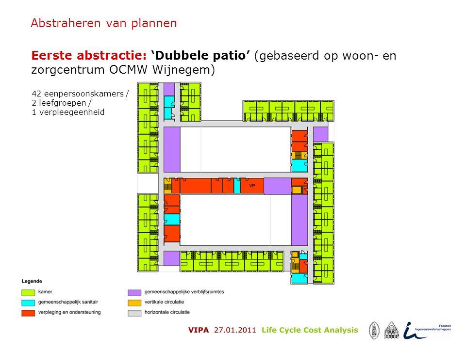 Abstraheren van plannen Eerste abstractie: 'Dubbele patio' (gebaseerd op woon- en zorgcentrum OCMW Wijnegem) 42 eenpersoonskamers / 2 leefgroepen / 1