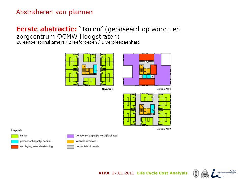 Abstraheren van plannen Eerste abstractie: 'Toren' (gebaseerd op woon- en zorgcentrum OCMW Hoogstraten) 20 eenpersoonskamers / 2 leefgroepen / 1 verpl
