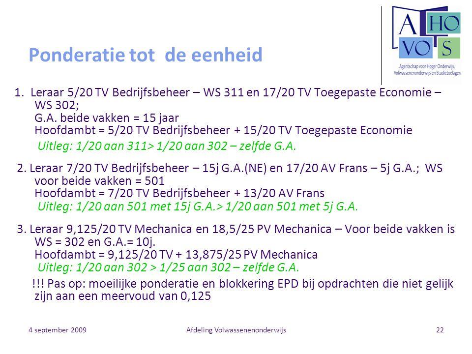 4 september 2009Afdeling Volwassenenonderwijs22 Ponderatie tot de eenheid 1. Leraar 5/20 TV Bedrijfsbeheer – WS 311 en 17/20 TV Toegepaste Economie –