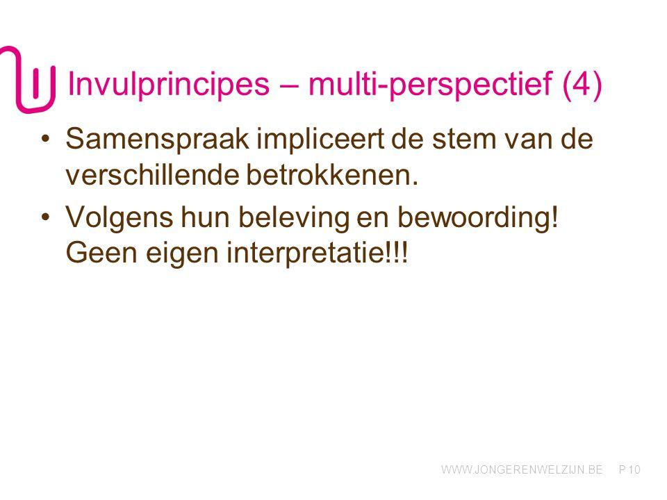 WWW.JONGERENWELZIJN.BE P Invulprincipes – multi-perspectief (4) Samenspraak impliceert de stem van de verschillende betrokkenen. Volgens hun beleving