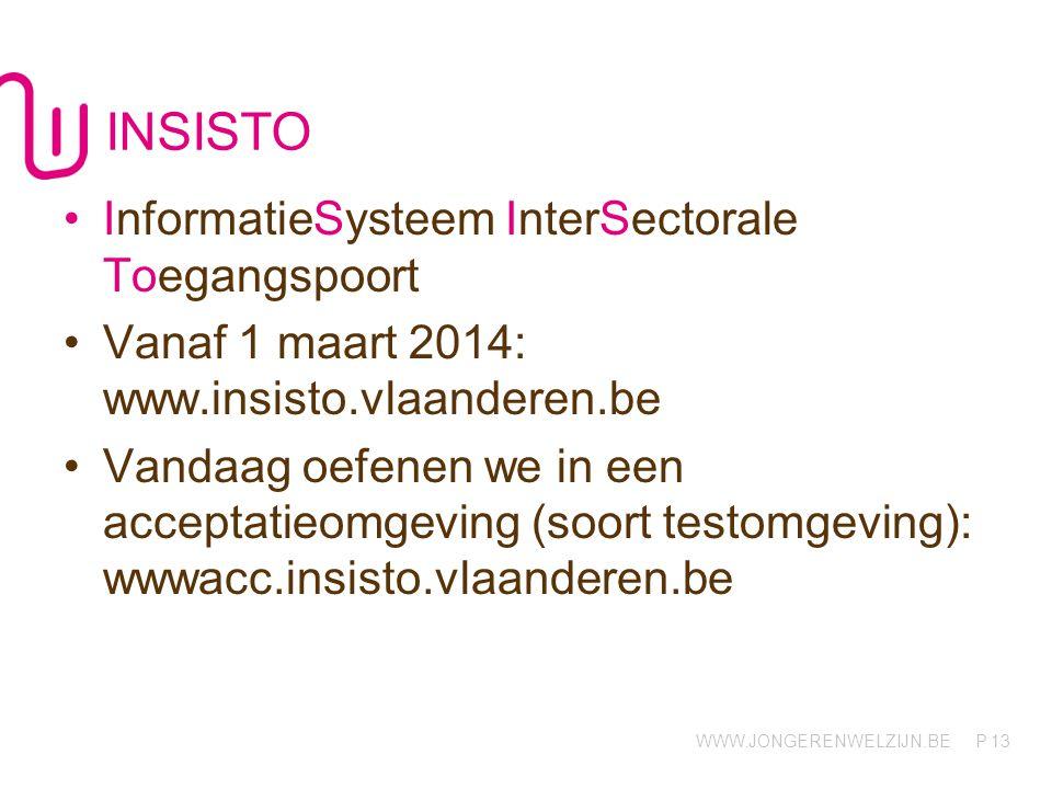 WWW.JONGERENWELZIJN.BE P INSISTO InformatieSysteem InterSectorale Toegangspoort Vanaf 1 maart 2014: www.insisto.vlaanderen.be Vandaag oefenen we in ee