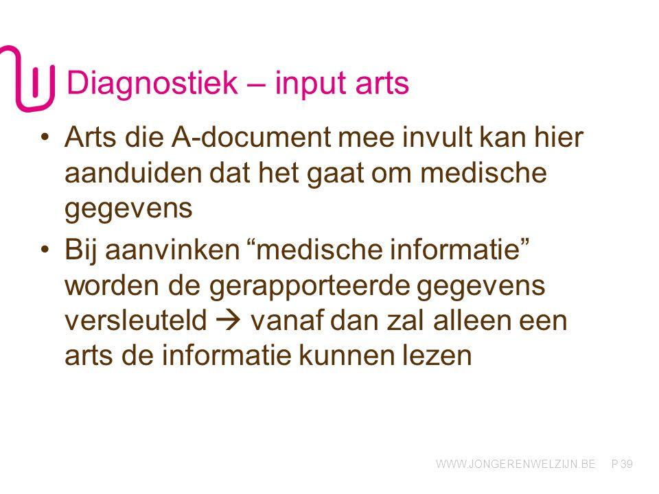 """WWW.JONGERENWELZIJN.BE P Diagnostiek – input arts Arts die A-document mee invult kan hier aanduiden dat het gaat om medische gegevens Bij aanvinken """"m"""