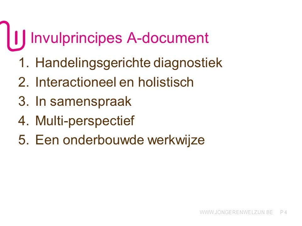 WWW.JONGERENWELZIJN.BE P Invulprincipes A-document 1.Handelingsgerichte diagnostiek 2.Interactioneel en holistisch 3.In samenspraak 4.Multi-perspectief 5.Een onderbouwde werkwijze 4