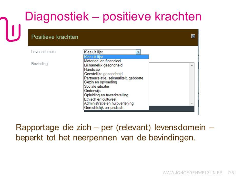 WWW.JONGERENWELZIJN.BE P Diagnostiek – positieve krachten Rapportage die zich – per (relevant) levensdomein – beperkt tot het neerpennen van de bevindingen.