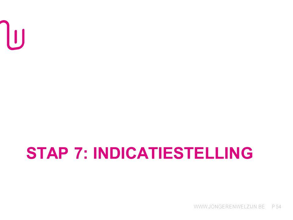 WWW.JONGERENWELZIJN.BE P STAP 7: INDICATIESTELLING 54