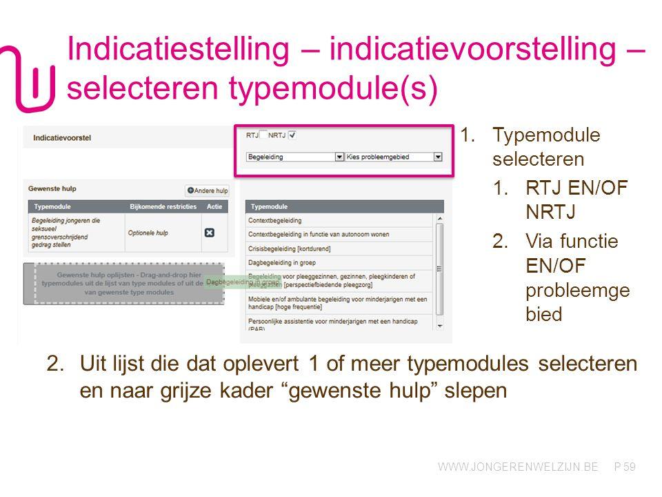 WWW.JONGERENWELZIJN.BE P Indicatiestelling – indicatievoorstelling – selecteren typemodule(s) 2.Uit lijst die dat oplevert 1 of meer typemodules selecteren en naar grijze kader gewenste hulp slepen 59 1.Typemodule selecteren 1.RTJ EN/OF NRTJ 2.Via functie EN/OF probleemge bied