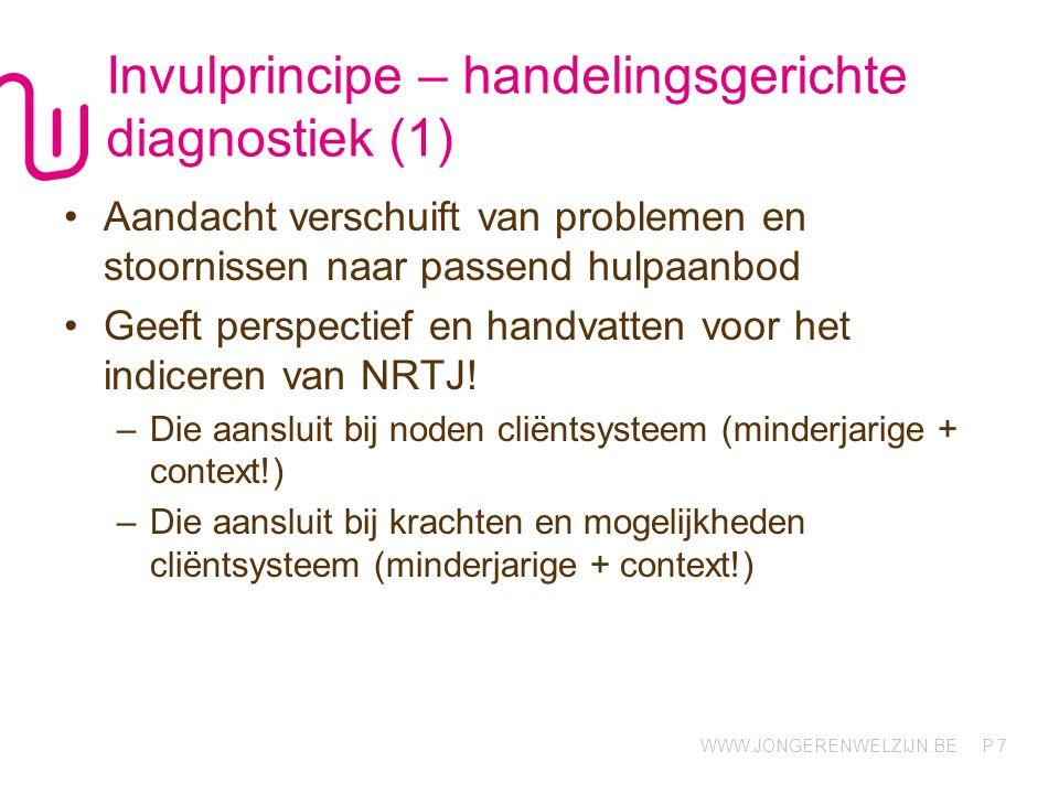 WWW.JONGERENWELZIJN.BE P Invulprincipe – handelingsgerichte diagnostiek (1) Aandacht verschuift van problemen en stoornissen naar passend hulpaanbod Geeft perspectief en handvatten voor het indiceren van NRTJ.