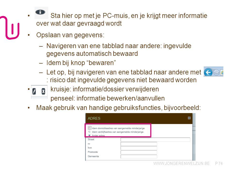 WWW.JONGERENWELZIJN.BE P : Sta hier op met je PC-muis, en je krijgt meer informatie over wat daar gevraagd wordt Opslaan van gegevens: –Navigeren van