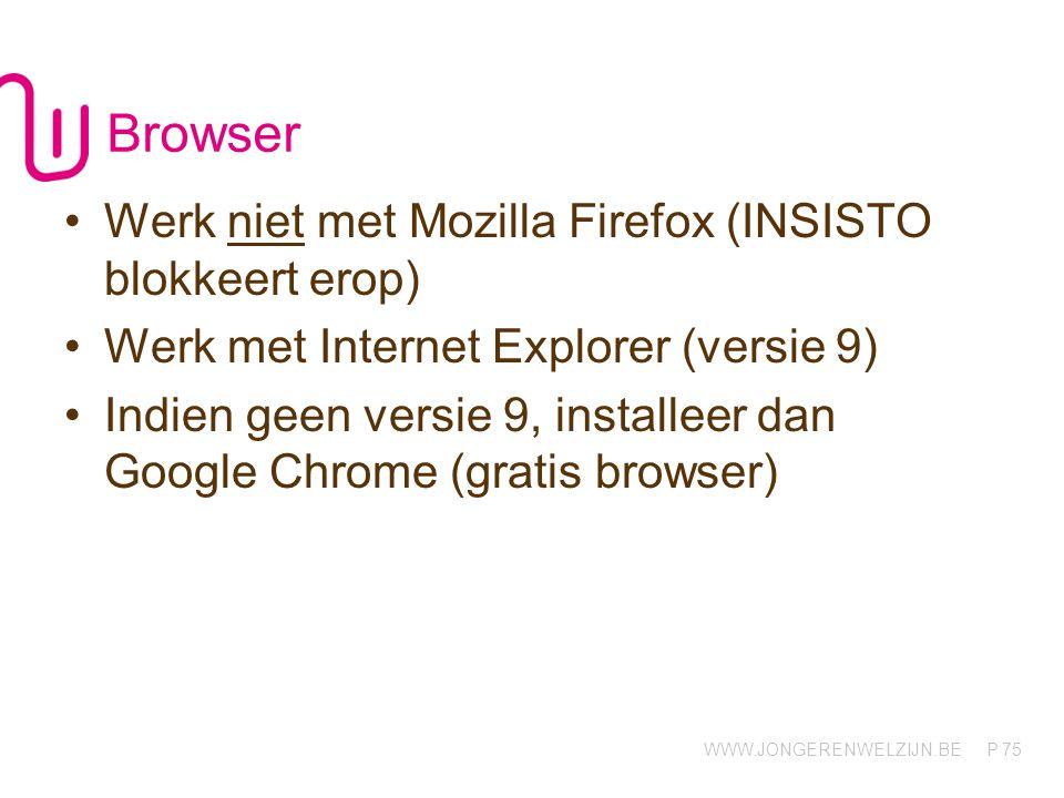 WWW.JONGERENWELZIJN.BE P Browser Werk niet met Mozilla Firefox (INSISTO blokkeert erop) Werk met Internet Explorer (versie 9) Indien geen versie 9, installeer dan Google Chrome (gratis browser) 75