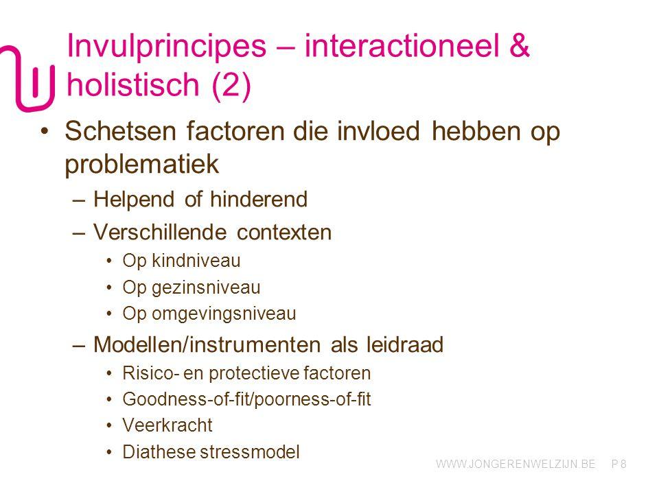 WWW.JONGERENWELZIJN.BE P Invulprincipes – interactioneel & holistisch (2) Schetsen factoren die invloed hebben op problematiek –Helpend of hinderend –