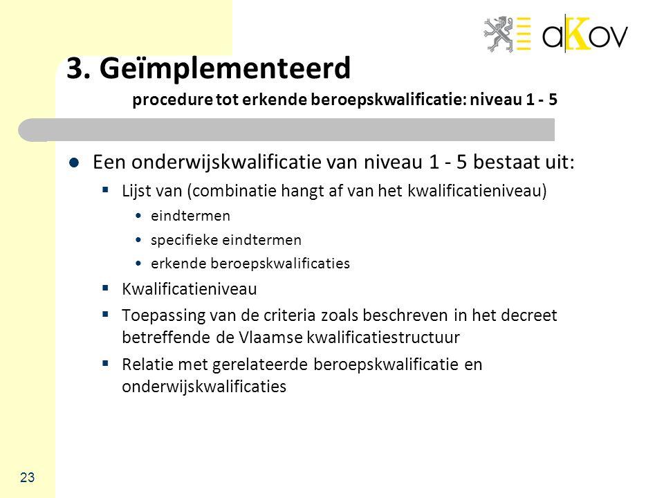 3. Geïmplementeerd procedure tot erkende beroepskwalificatie: niveau 1 - 5 Een onderwijskwalificatie van niveau 1 - 5 bestaat uit:  Lijst van (combin