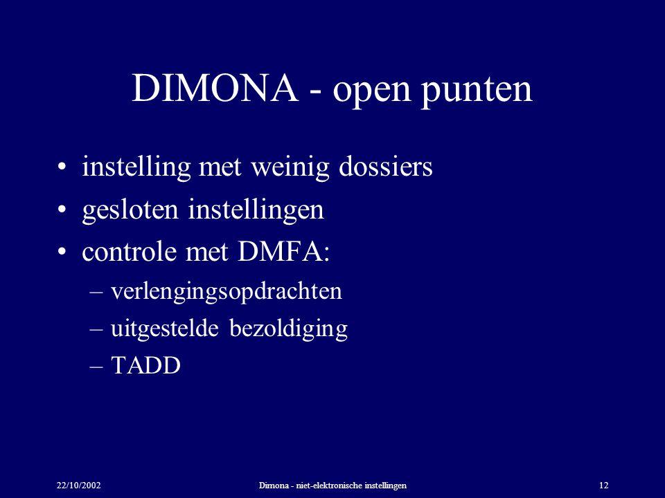 22/10/2002Dimona - niet-elektronische instellingen12 DIMONA - open punten instelling met weinig dossiers gesloten instellingen controle met DMFA: –verlengingsopdrachten –uitgestelde bezoldiging –TADD